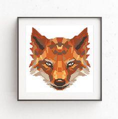 Geometric Fox Cross Stitch Pattern Wild Animals Counted