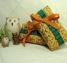 Owls on Orange 2 Travel Tissue Pockets Gift Card by loneweever, $7.00