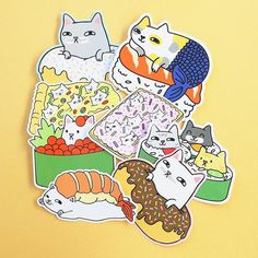 Cats in Food Sticker Pack