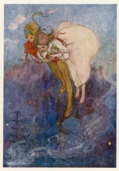 Peter and Wendy Float Away Over the  City - Alice B. Woodward