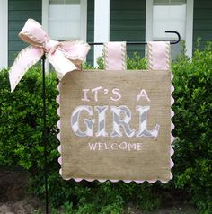 Burlap Garden Flag It's a Girl Custom by sewgoddesscreations