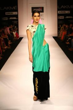 Colour blocking sari: Masaba at Lakme Fashion Week in Mumbai, Summer Resort 2012 Lakme Fashion Week, India Fashion, Asian Fashion, Runway Fashion, Pakistan Fashion, Fashion Hair, Modern Fashion, Indian Attire, Indian Wear