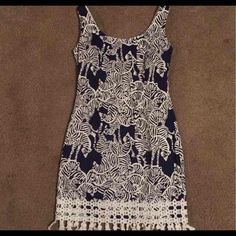 Lilly Pulitzer dress Cute navy and white dress with white Zebra print Lilly Pulitzer Dresses Mini