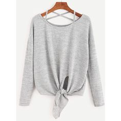 Heather Grey Drop Shoulder Criss Cross Tie Front T-Shirt ($12) ❤ liked on Polyvore featuring tops, t-shirts, grey, heather grey t shirt, drop shoulder t shirt, round neck t shirt, long sleeve stretch tee and stretch t shirt