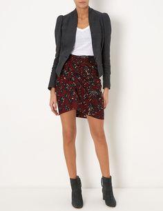 Burgundy Floral Jayda Skirt