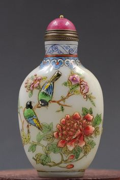Chinese old Beijing hand-painted flowers, birds & butterflies glass snuff bottle