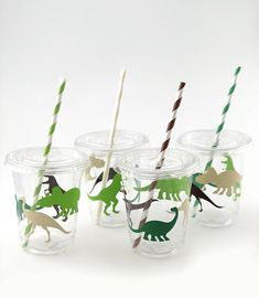 Serve soda, juice and punch in these fun dinosaur party cups! Each cup has four dinosaur decals, alternating dark brown, lime green, beige and emerald green. Straws in matching colors complete this classic dinosaur party look! Each set includes: Dinosaur Party Supplies, Dinosaur Party Favors, Birthday Party Celebration, 4th Birthday Parties, 3rd Birthday, Birthday Ideas, Dinosaur Birthday Party, Party Cups, First Birthdays
