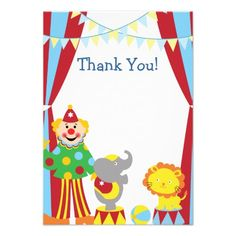 Custom Child Circus Thank You Card Personalized Invitation