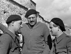 Ernest Hemingway with Ilya Ehrenburg and Gustav Regler during the Spanish Civil War, circa 1937.