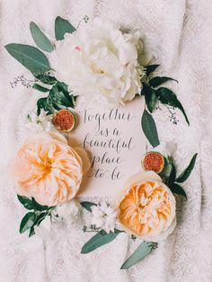Today is a beautiful place to be. photo by Rachel May Photography http://ruffledblog.com/clifton-inn-wedding-inspiration #weddingideas #papergoods #gardenroses