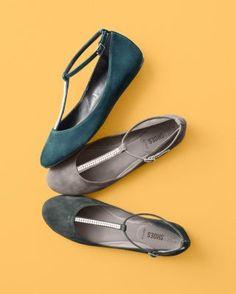 Nara Shoes T Strap Ballerina Flats