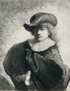 Zelfportret met hoed met slappe rand en geborduurde mantel, Rembrandt van Rijn, 1631.