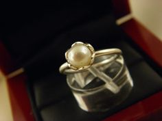 Authentic Pandora Sterling Silver 925 Ale White Pearl Ring  Size 5.5.#2 #Pandora #Solitaire