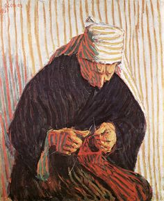 Gallery of the masters fine art listed by country and alphabetically-Breton Peasant Knitting, Roderic O Connor Still Life With Apples, Irish Painters, Knit Art, Plastic Art, Irish Art, Modern Art, Illustration Art, Illustrations, Knitting