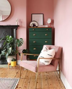 We're in love with this pink & green room in the home of The green drawers and black fireplace… Room Makeover, Pink Green Bedrooms, Pink Living Room, Home Decor Bedroom, Home, Pink Bedroom Walls, Green Rooms, Bedroom Green, Bedroom Color Schemes