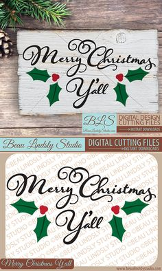 Christmas SVG Cutting File: Merry Christmas Y'all, in SVG, DXF and PNG Image formats. Great as a Silhouette Pattern, Cricut Projects or printable clip art. This Christmas Quote would be great on a DIY Christmas Gift! The design includes a SVG Cutting File, a DXF File and a PNG Image file.
