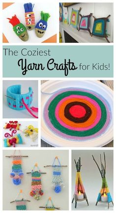 Fantastic yarn crafts for kids! These are great crafts for preschoolers through big kids! Love crafting with warm yarn in the winter.