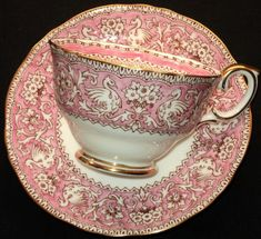 Crown Staffordshire, Rare Ellesmere pattern in Pink (England) tealove.wordpress.com