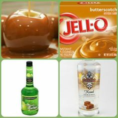 Caramel Apple Pudding Shots  1 small Pkg. Butterscotch instant pudding  ¾ Cup Milk  1/2 Cup caramel vodka or Bailey's caramel  1/4 Cup apple schnapps or apple vodka  8oz tub Cool Whip   Directions 1. Whisk together the milk, liquor, and instant pudding mix in a bowl until combined. 2. Add cool whip a little at a time with whisk. 3. Spoon the pudding mixture into shot glasses, disposable 'party shot' cups or 1 or 2 ounce cups with lids. Place in freezer for at least 2 hours