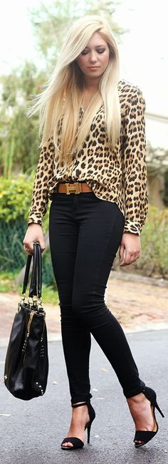Leopard top, black skinny and heels fashion