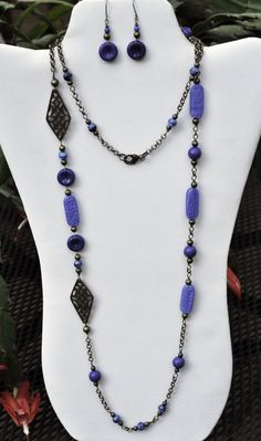 Extra Long Blue and Bronze Necklace and Earring Set by JewelryArtByGail on Etsy