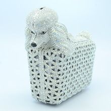 Free Shipping High Quality Clear Austrian Crystals Dog Poodle Clutch Evening Bags Purse Fashion Handbag For Women Jewelry Brand(China (Mainland))