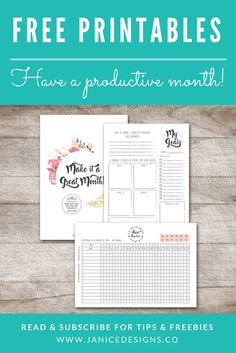 free printables, productive month, get more done, monthly planner, habit tracker, monthly goal breakdown