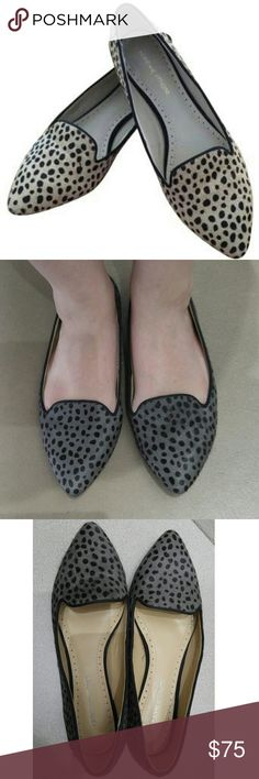 Adrienne Vittadini Benson Calf Hair Leopard Flats 🌷20% Off Bundles🌷  Take a walk on the wild side!  Leather calf hair upper. Grosgrain ribbon trim. Synthetic flexible sole. Generously cushioned footbed. Synthetic lining & sockliner. Charcoal grey leopard print. Almond toe skimmer with a cutaway vamp has a polished lounge-shoe vibe.   Only flaw is some peeling inside the heel of the shoe lining. (See Pics) Doesn't affect fit or feel and doesn't show when worn. Otherwise they're like new…