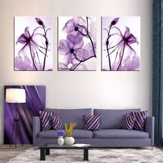 combined 3 pieces new purple flower wall art painting print on canvas abstract flower wen canvas wall picture in the bedroom