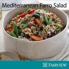 Looking for a new salad recipe? Try this Mediterranean farrro salad, packed with fiber, B-vitamins, magnesium and iron.