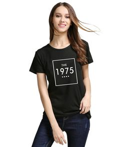 8617a2bf8bcab Women short sleeve letter print T shirt THE 1975 Cotton Casual Funny For  Lady White Black