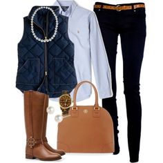 """""""OOTD"""" by classically-preppy on Polyvore.... I would do this CAbi Style with either the Ink Ruby Jeans or Ricky Leggings, a button down (Could be CAbi Tailored Shirt) , the Sleeveless blazer (CAbi F13) and some great brown boots and bag!"""