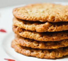 IKEA-Style Havreflarn (Swedish Oat Crisps) Recipe on Chocolate & Zucchini Pecan Cookie Recipes, Pecan Cookies, Chocolate Cookie Recipes, Almond Recipes, Dessert Recipes, Oat Biscuit Recipe, Cookies Et Biscuits, Crisp Recipe, Cookies