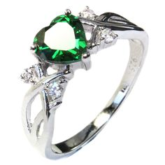 This Emerald Colored Heart Shaped Promise Ring (Green Cubic Zirconia Stone) has 1 primary stone which is green and 4 smaller stones (2 either size of the main stone). Description from beautifulpromiserings.com. I searched for this on bing.com/images