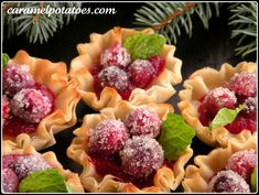Sparkling cranberry cups - filo cups with brie and fresh orange cranberry sauce, topped with sugared cranberries
