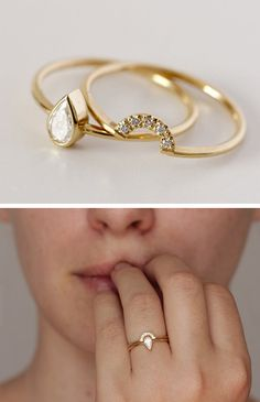 Stacking pear ring with crescent band