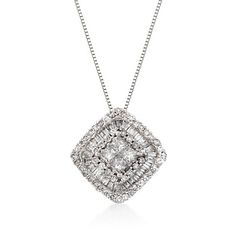 """.76 ct. t.w. Diamond Pendant Necklace in 14kt White Gold. 18"""""""