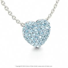 LOVE POEM | Pave Set Heart Pendant with Aquamarine in Platinum and Anchor Chain 1.75mm in 18k White Gold