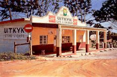 Uitkyk, Cash Store, Hermanus, Oil on canvas by John Kramer. Size: 76 x University Of Cape Town, Driftwood Wall Art, American Photo, South African Artists, London Art, Art History, Family History, Small Towns, Landscape Photos