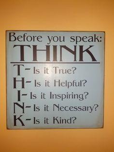 VINYL decal Before You Speak THINK by UDreamItVinyl on Etsy