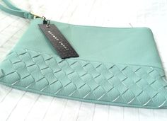 """I've been dying for a mint clutch! This Stitch Fix """"Lyna Woven Wrislet"""" clutch by Street Level is perfect!"""