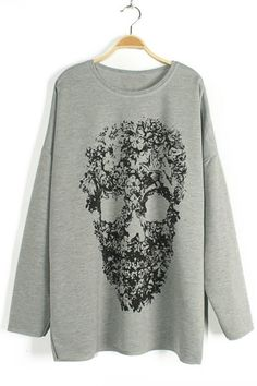 Grey Skull Print Sweater-Shirt OASAP.com