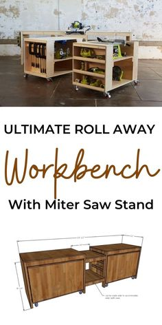 The best workbench you can build! This workbench features a miter saw stand, with roll away carts to hold all your tools and create work spaces. It's easy to customize, and the best part, it all rolls away when done! Free step by step plans from Ana-White.com. #anawhite #anawhiteplans #workbench #workshop #diy #mitersaw Woodworking Workshop, Easy Woodworking Projects, Woodworking Plans, Carpentry Projects, Woodworking Shop, Workshop Storage, Diy Workshop, Garage Workshop, Diy Furniture Projects