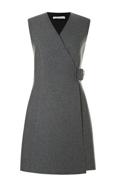 This grey wool blend sleeveless wrap dress from J. Anderson features a v-neck and tonal buckle detail at the side.Buckle wool, polyester, polyurethane, other fibersLined with slip insertMade in UKPlease note: This item is Final Sale. Office Dresses, Casual Dresses, Fashion Dresses, Dresses For Work, Woman Dresses, Wool Dress, Dress Skirt, Dress Up, Mode Outfits