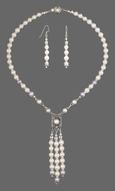 Convertible Necklace and Earring Set with Cultured Freshwater Pearls & Swarovski Crystals #jewelrymaking #beading #jewelrydesign #bridal #wedding #jewelry