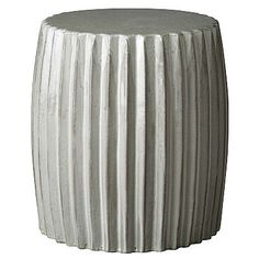 Showcase the Pleated Garden Stool  indoors in your living room, bedroom, or bathroom and outdoors on your patio, in the pool area or in the garden. Offered by Emissary, this modern piece is made of high-quality ceramic, glazed in glossy gray. Multi-functionality of this piece makes it especially ideal in small spaces!