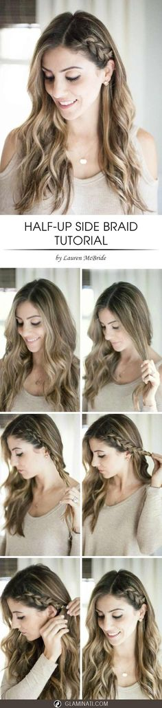A half up side braid would be a perfect option if you love wearing your hair down. This tutorial how to do a french half up braid won't damage your hair as long as any hairspray and bobby pins are not obligatory.