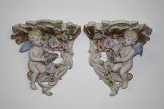 2 Meissen Style Porcelain Bisque Mantle Mounts Wall Brackets Plaque Cherub Putti