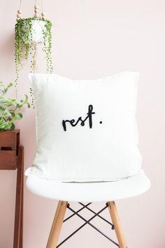 DIY: needle felted lettered cushion