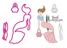 Prima - Mermaid Kisses Collection - Cling Mounted Stamps and Metal Die Set - Cordelia Mermaid:  This fashionista mermaid is the perfect paper doll or fun embellishment for cards or sea-themed projects! The Cordelia Mermaid Cling Mounted Stamps and Metal Die Set feature a